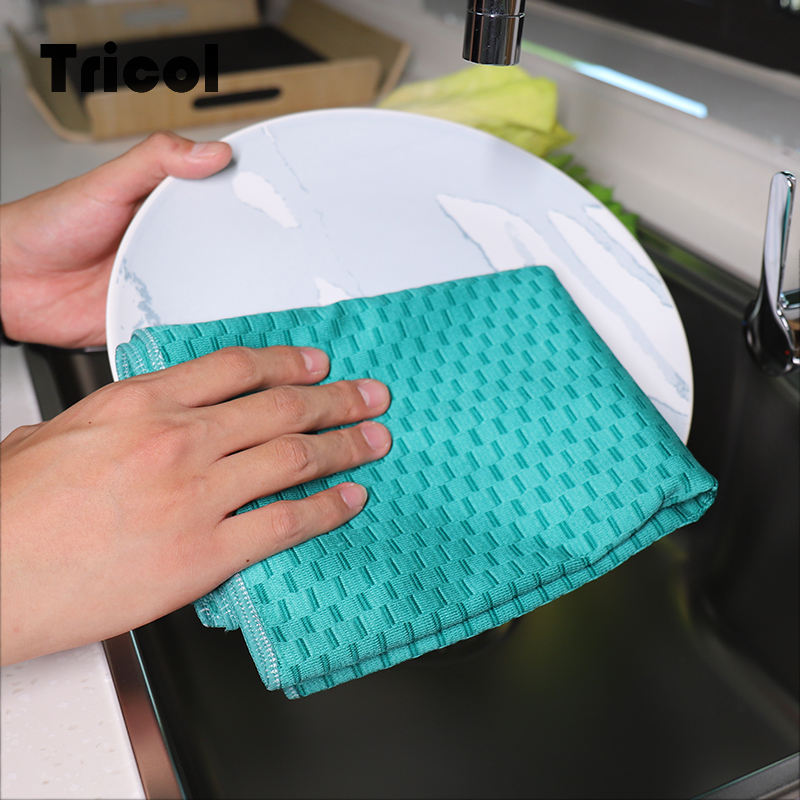 Bamboo Fiber Dish Cloth Scouring Pad antibacterial bamboo fiber cleaning cloth