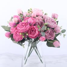 30cm Rose Pink Silk Peony Artificial Flowers Bouquet 5 Big Head And 4 Bud Cheap Flower For Home Wedding Decoration Indoor
