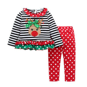 Polka Dot Stripe Ruffle Girls Clothes Sets Boutique Kids Clothing Christmas Ruffle Outfits