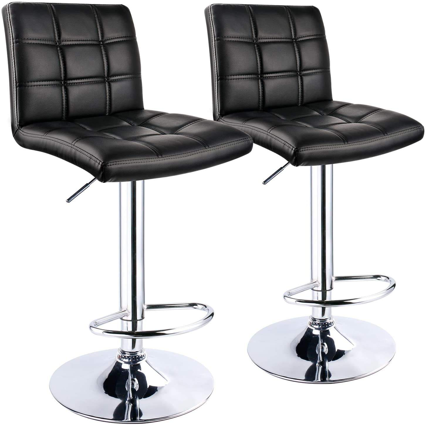Modern Bar Stools Leatherette Exterior Double Needle Sewing Height Adjustable Chrome Footrest and Base Bar Chairs