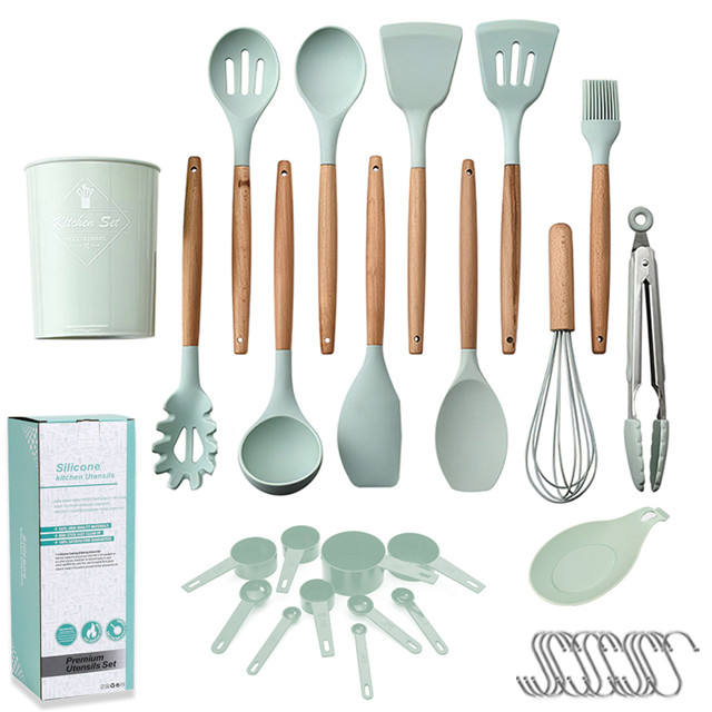 Silicone Wooden Handle Kitchenware Kitchen Accessories Set Tableware Cookware Cooking Tool Set