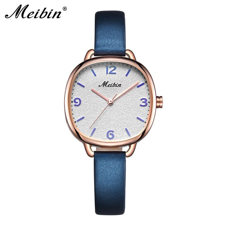 MEIBIN 1076 Modern Watch Quartz Elite Wrist Small Leather Strap Large Face Quartz Wrist Watches