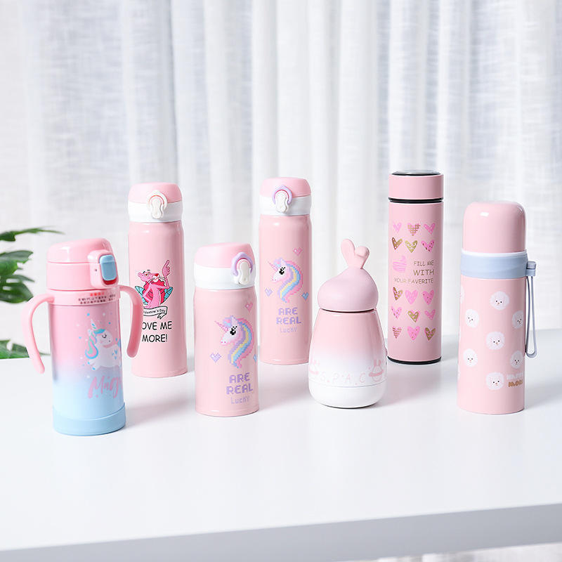 Feiyou hot selling unicorn insulated stainless steel water bottle cute eco vacuum double wall kids water bottle for school