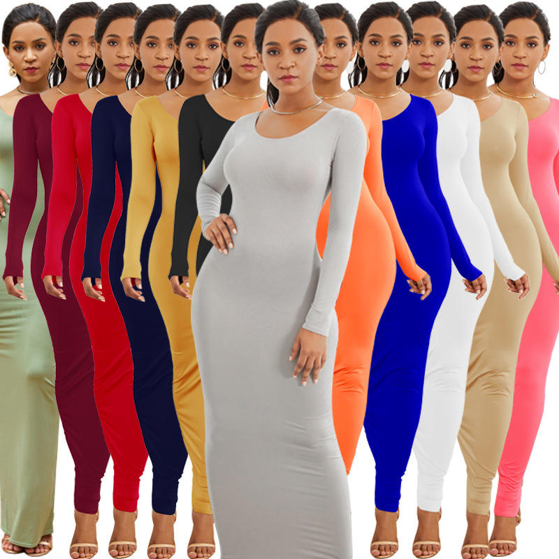 2020 Wholesale Casual Cotton Fall Winter Solid Color Pencil Maxi Dress Long Sleeve Bodycon Dresses Women