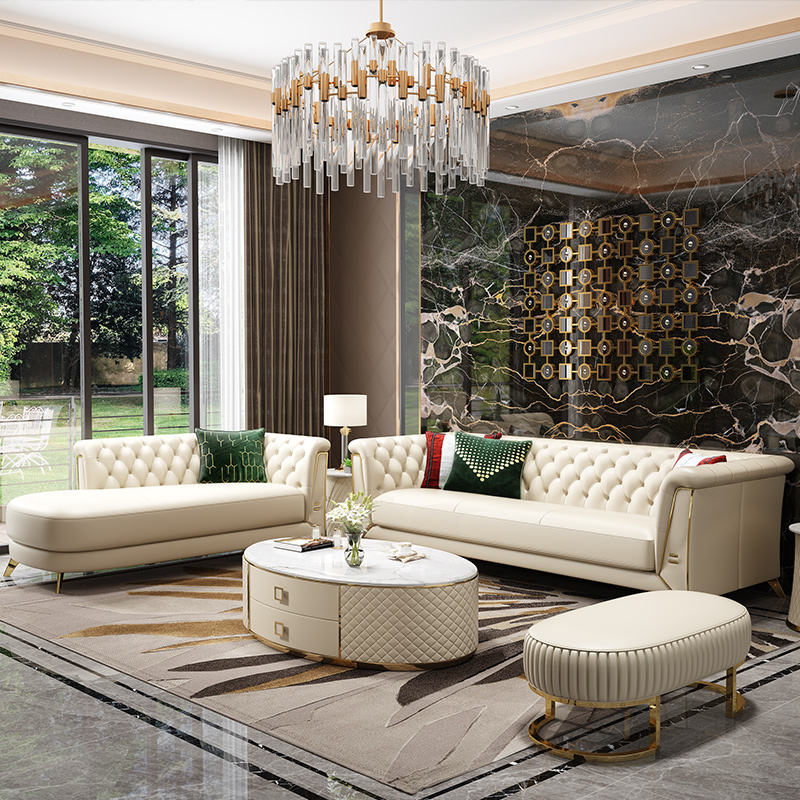 Luxury Wear Resistant Sofa with Microfiber Leather Corner Sofa