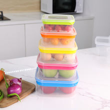 Food Containers Plastic Set For Dry  Food Storage Box with Square Rainbow Lid