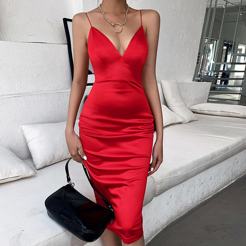 Wholesale Elegant woman dress spaghetti style red deep V sexy tight dress