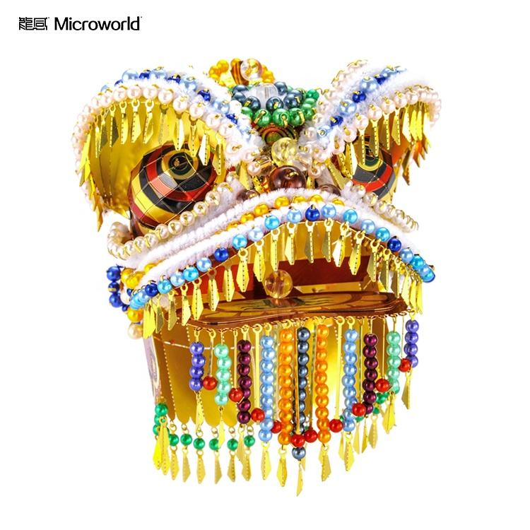 Microworld diy Chinese culture dancing lion metal puzzle model 3d adult puzzle game