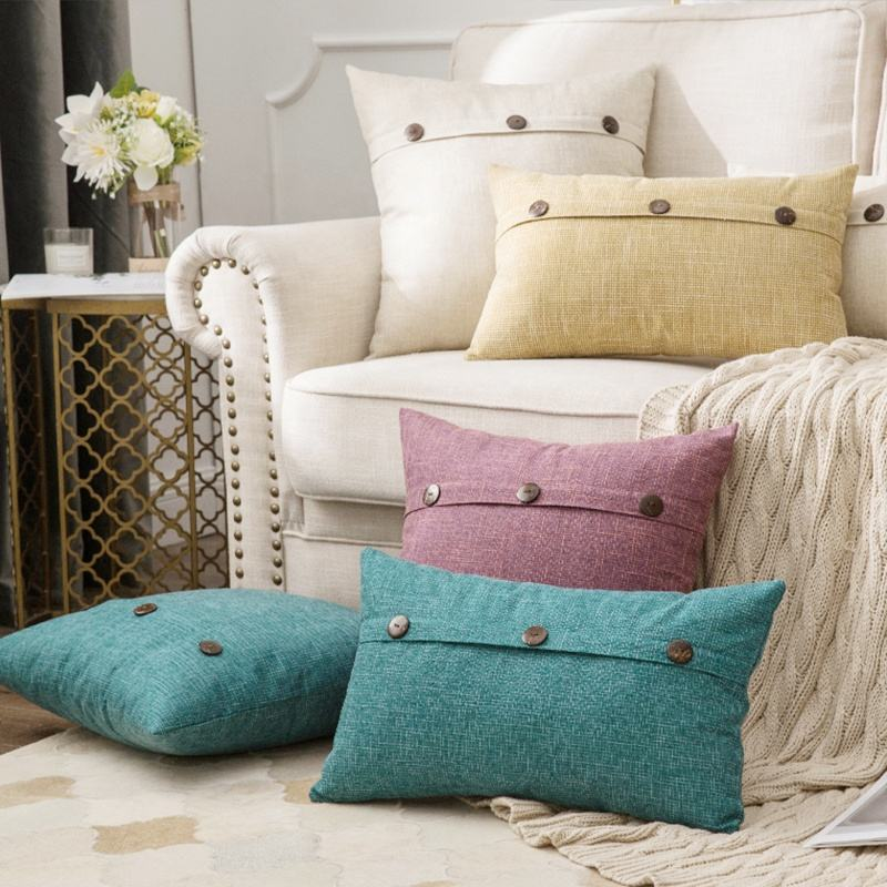 2020 Factory Cheap Wholesale throw Pillow Cover Decorative Button Farmhouse Decor Vintage linen pillow cover For Sofa