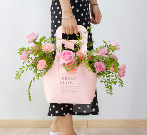 Eco-friendly flower take away paper bag ,flower paper packing carrier bag with handle