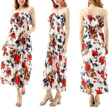 New Design Sleeveless Maxi Dress Floral Printing Braces Skirt Casual Long Dresses Summer LOOSE Chiffon OEM Service Simple Adults