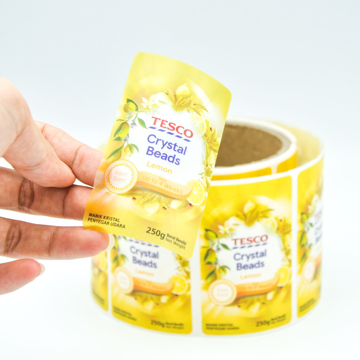 Custom Printing Roll Adhesive Logo Gold Foil Hot Stamping Clear Stickers Packaging Label Roll