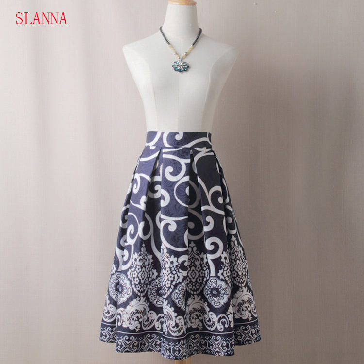 wholesale traditional faldas a line long indian skirt with vintage geometric polyester skirt for work