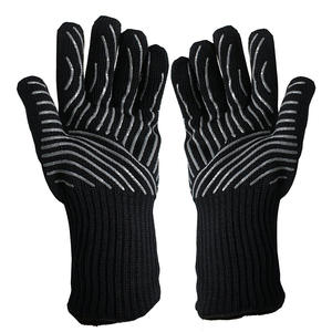 Seeway BBQ Long Cuff Oven Gloves Black Grill Mitt for Sell