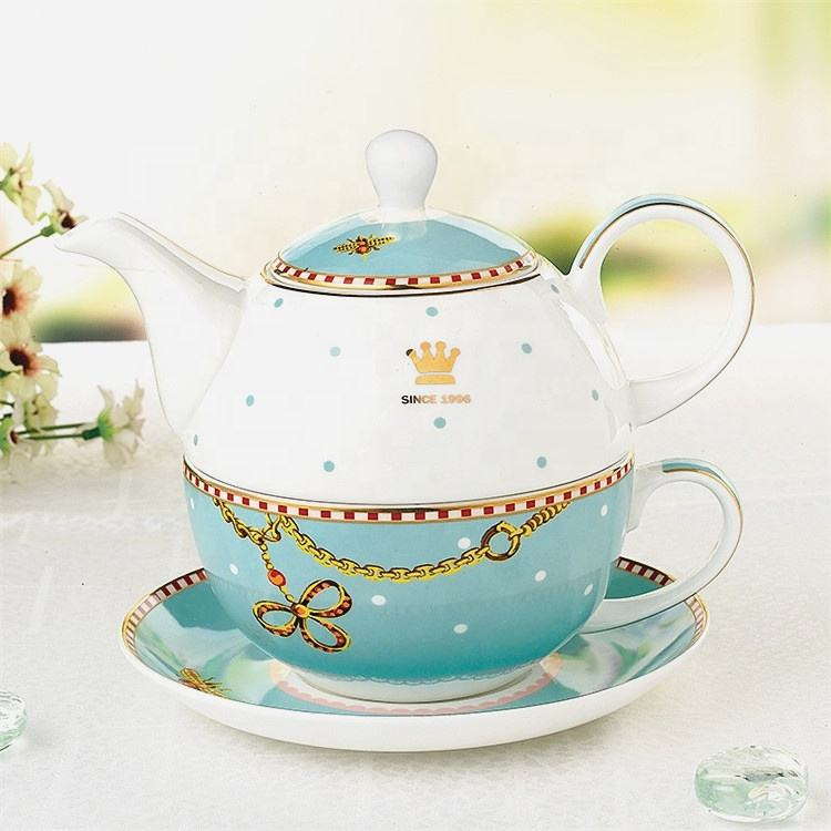 Custom logo wholesale english royal ceramic tea pot cup sets for home