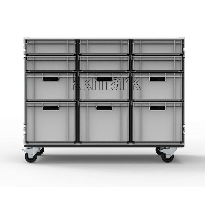 12 Drawer Triple Width Euro Container Flight Case