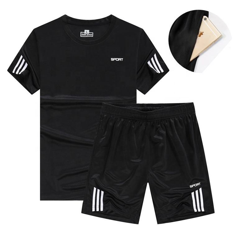 Summer Fit Gym Sports T shirts Wholesale Custom Plain Polyester Sport Wear Set For Men