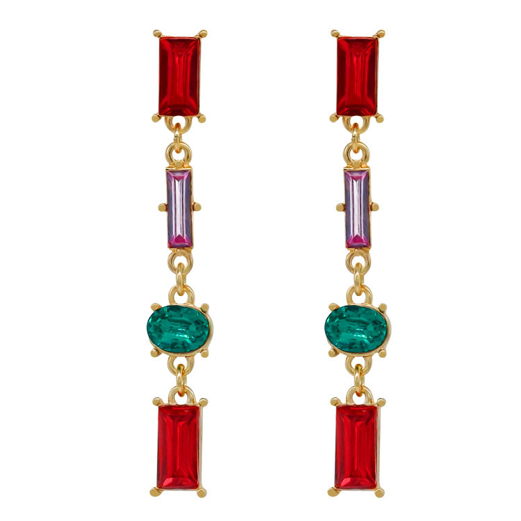 beautiful luxury amethyst ruby garnet austrian baguette crystal earrings