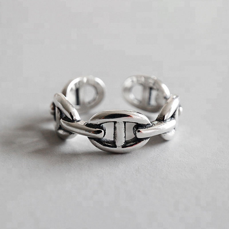 Korean Simple Fashion Locking Rings Open Flexible S925 Sterling Silver Personality Ring Jewelry