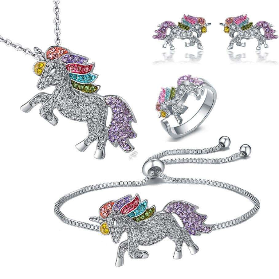 New fashion crystal necklace earrings bracelet ring set unicorn colorful jewelry