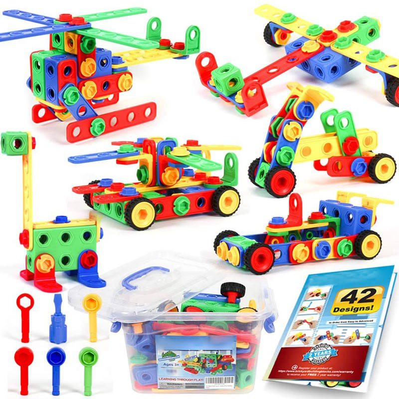 STEM Building Blocks Toys Kit DIY Construction Engineering Science Blocks Game Toy Building Set with Electrical Drill