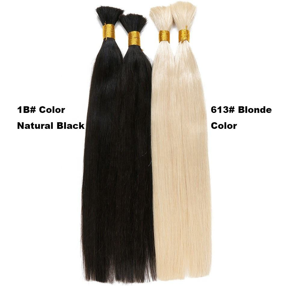 Pure Color Remy Braiding Human Hair Bulk Silky Straight European Hair Extensions 1000g No Weft Bundles to make wigs