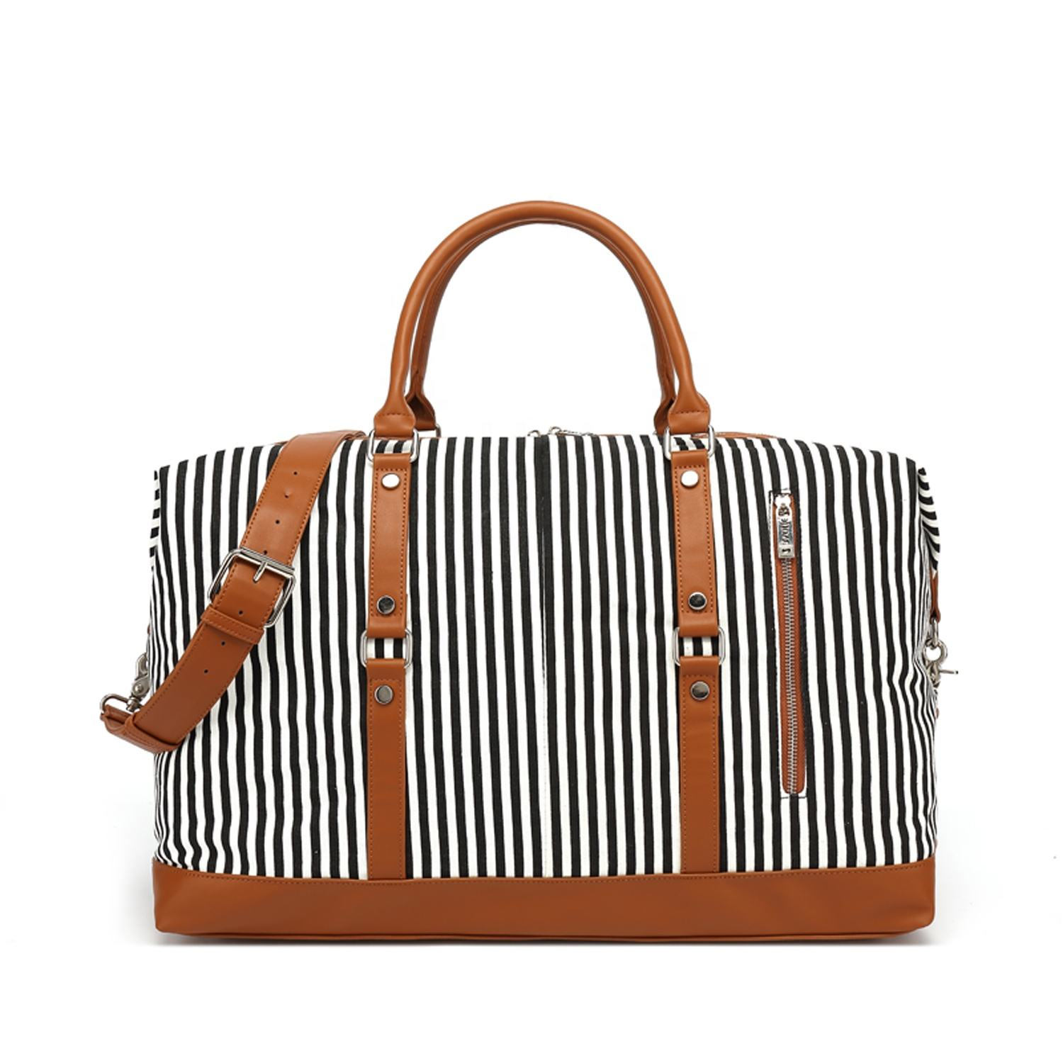 Stripe Women Travel Duffel Weekender Carryon Shoulder Tote Bag Canvas PU Leather