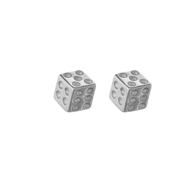 Girls Dice Colorful Ear Studs 925 Sterling Silver Plastic