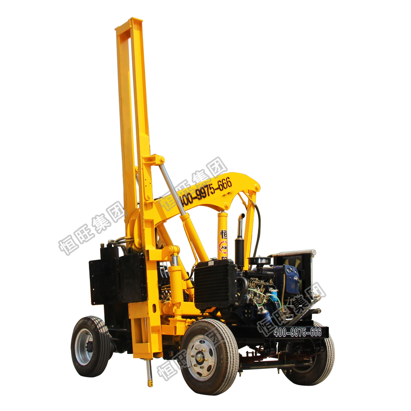 diesel solar farm screw highway guardrail post installation safety barrier road fence pile driver machine