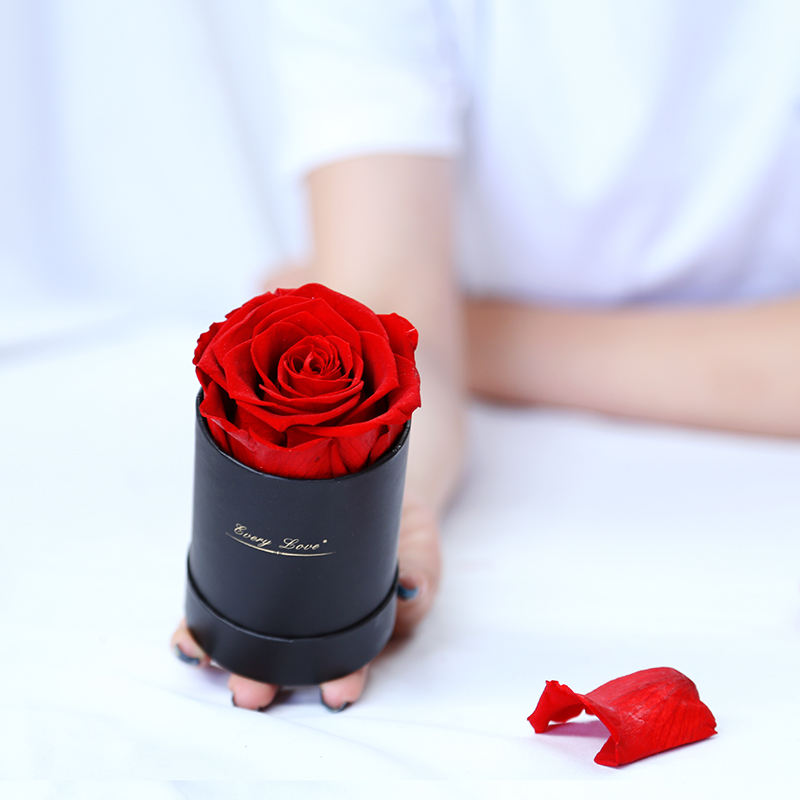 Romantic Gift Girlfriend Valentine's Day Forever Preserved Eternal single rose round box