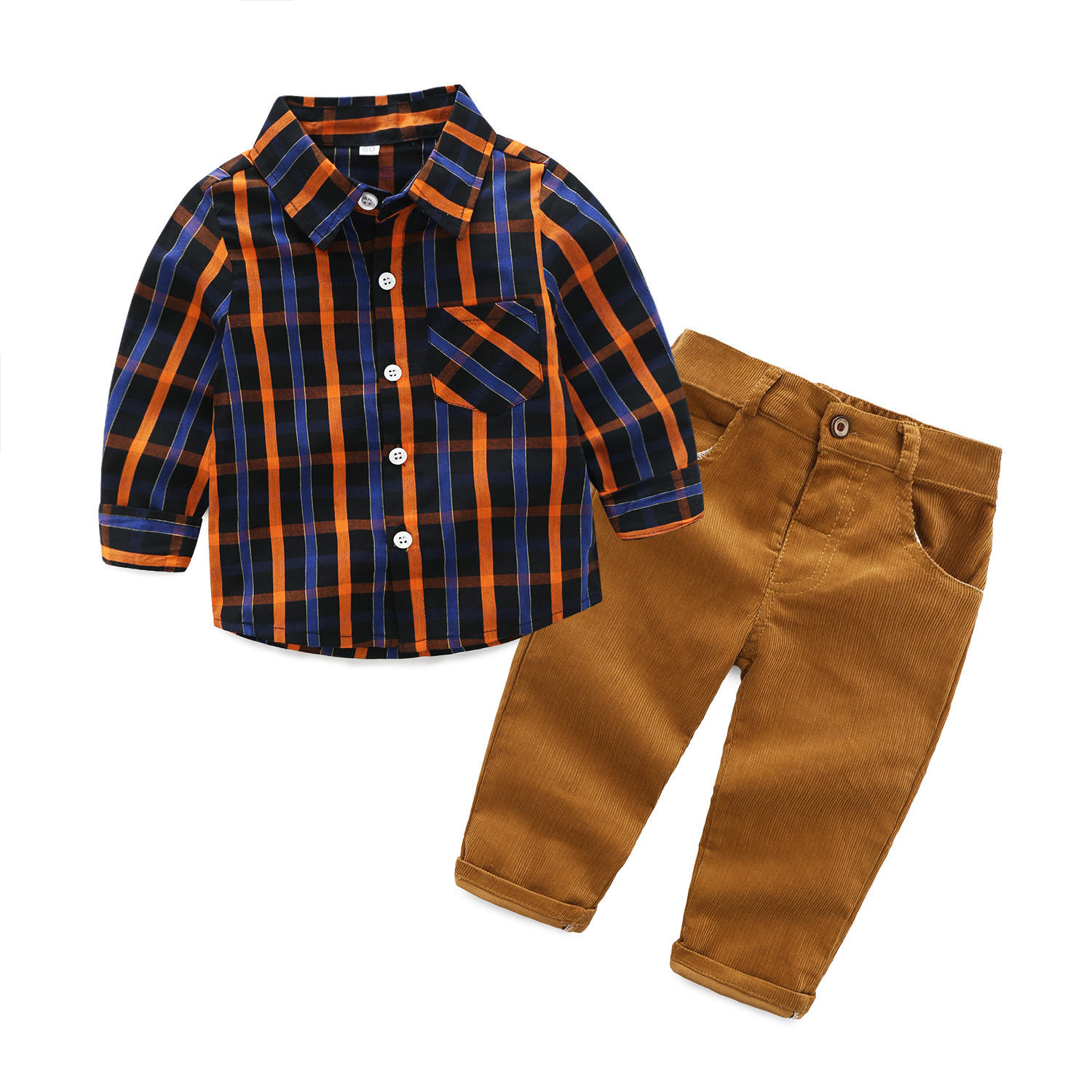 Children's Clothing Suit Male Baby Plaid Shirt Trousers Suit Spring And Autumn Long-sleeve Bright Set Formal Kids Clothes