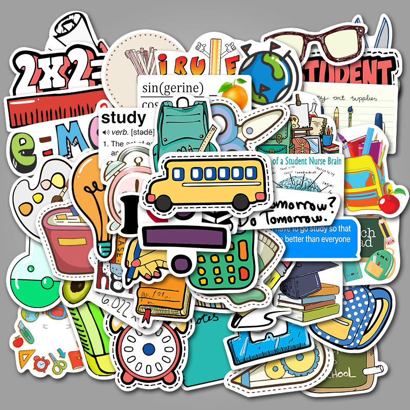 50pcs/bag school supplies doodle stickers suitcase trolley case laptop guitar waterproof stickers stickers