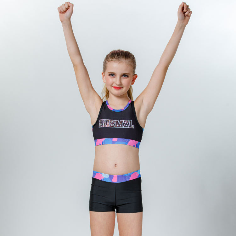 Comfortable lycra compression cheerleader training uniforms manufacturers cheerleading bra