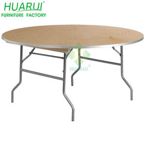 Restaurant Round Wood Folding Table for Rental