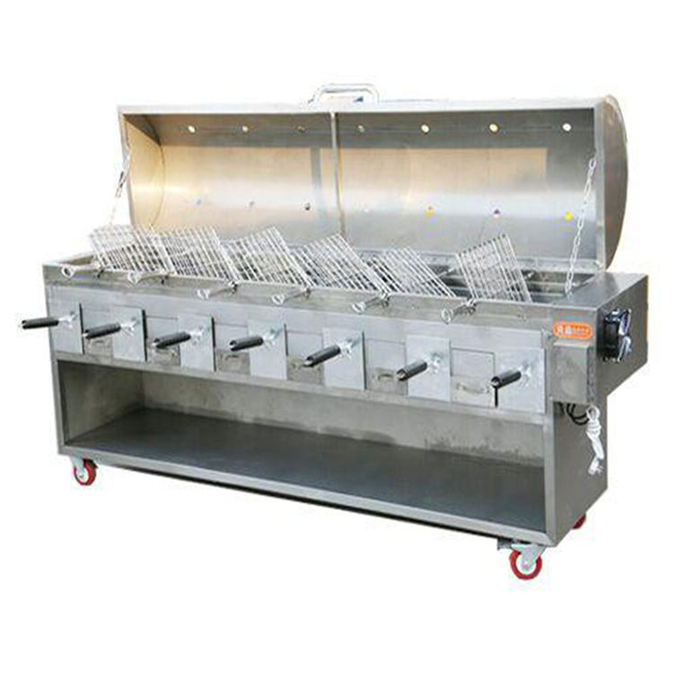 Large rotisserie Brazilian charcoal rotisserie restaurant gas bbq grill