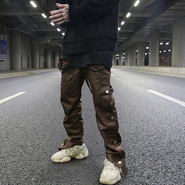 Stock side button mens tracks pants dropshipping solid color mens streetwear pants
