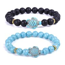 Natural Stone Lava Blue Turquoise Beads Bracelet Turquoise Sea Turtle Bracelet For Women