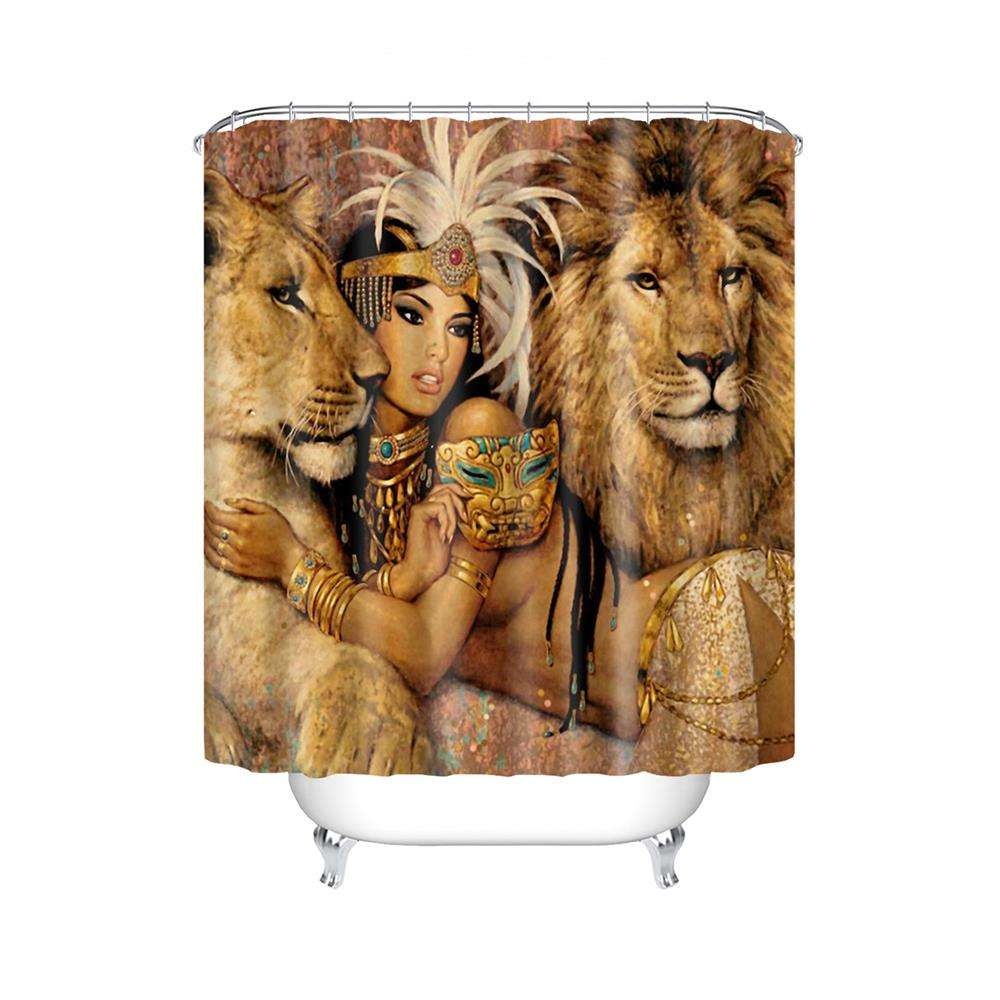 African Woman and Lions Bathroom Waterproof Shower Curtain Size 180x180 Polyester Fabric Shower Curtain Set with 12 Hooks