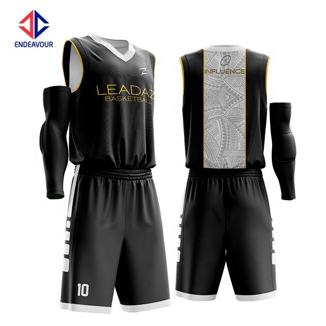 Low moq custom logo polyester dye sublimation black and white reversible youth basketball uniforms for sale
