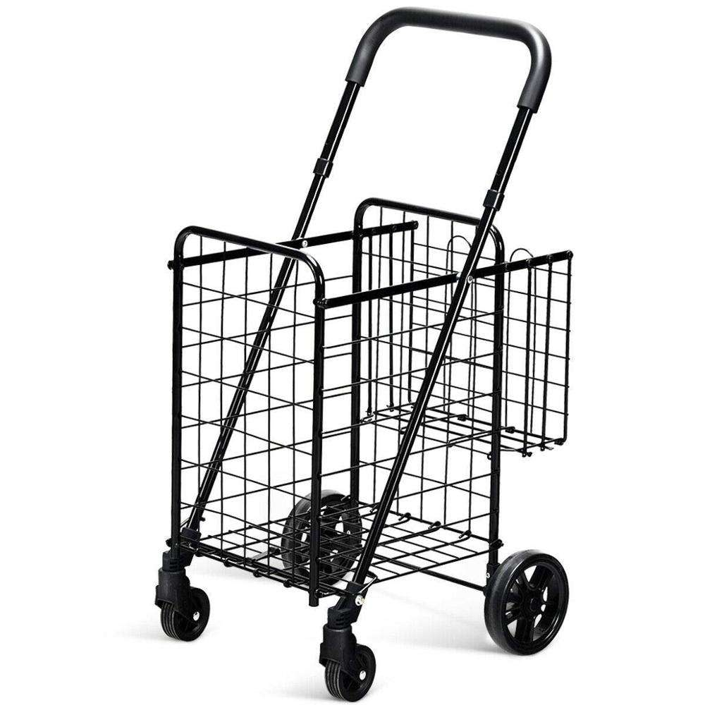 Amazon Hot Selling Source Manufacturer Folding Metal 4 wheel Shopping Trolley Carts With Back Basket