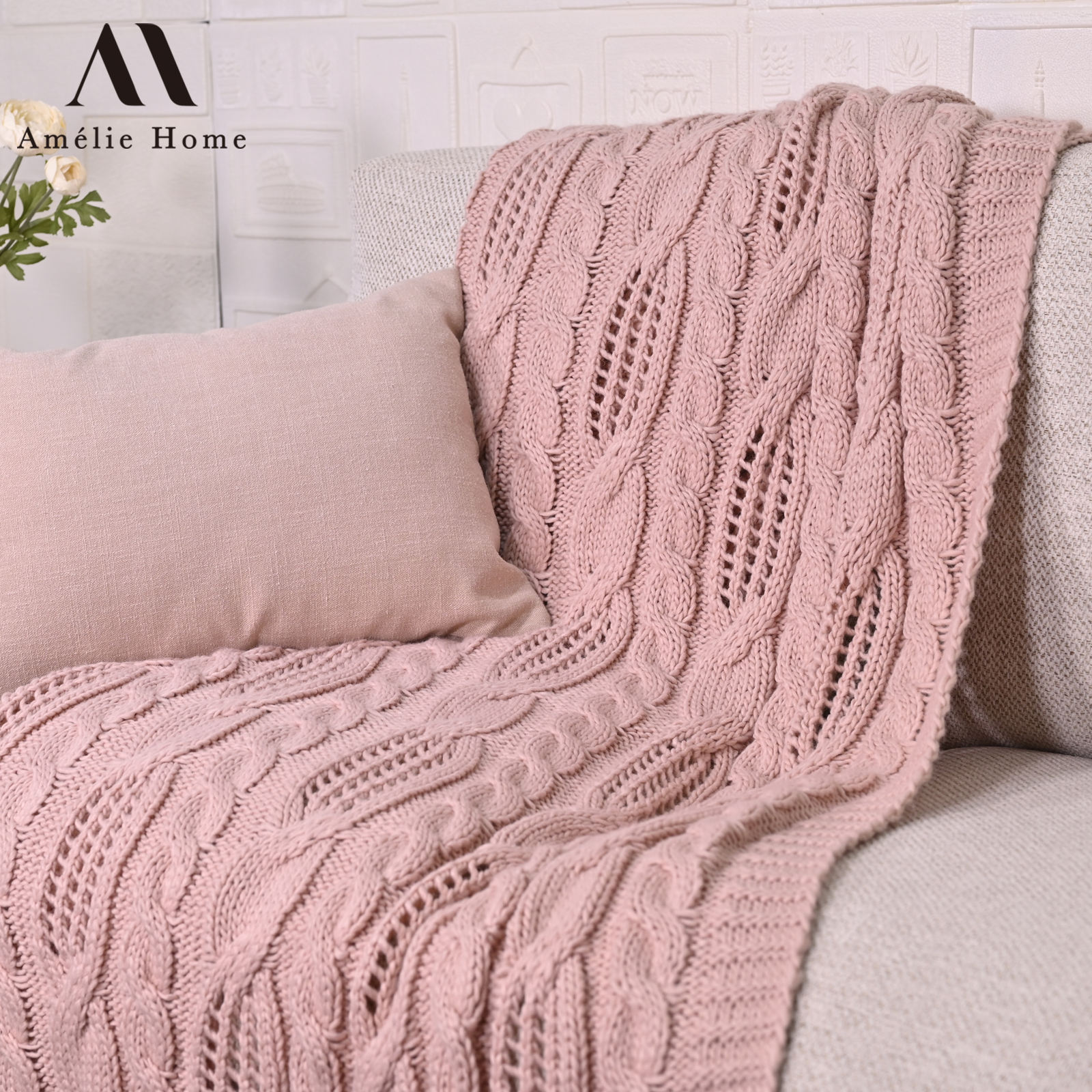 Amelie Home Custom Acrylic Blanket Amazon Hot Sales Pink Blanket Throw Blankets For Sofa