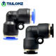 Black Tailonz 2-Way PV L Type Plastic Pipe Quick Connector Tube Type L Sang A Pneumatic Fitting