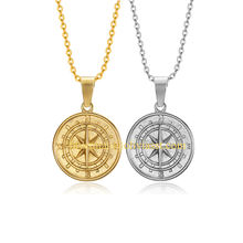 Travel Charm 14k 18k gold compass pendant custom nautical jewelry stainless steel compass north star necklace graduation gift