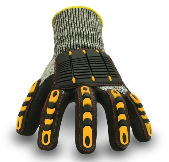 Rubber insulated hand cut protection mechanics gloves for oil and gas
