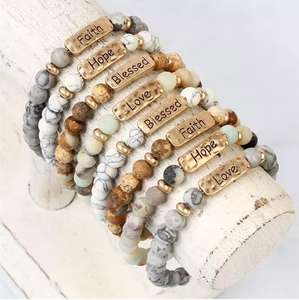 Custom Hope Love Faith Blessed Stretch Metal Plate Engraved Message Natural Stone Bead Bracelet