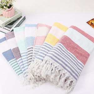 Competitive Price Modern Simplicity Boho Geometric Flat Weave Cotton Fringes Turkish Beach Towel