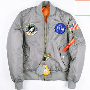 Custom Winter Astronaut Bomber Jacket Men High Quality Hip Hop black Sportswear Male Jacket Flag Print Men's NASA