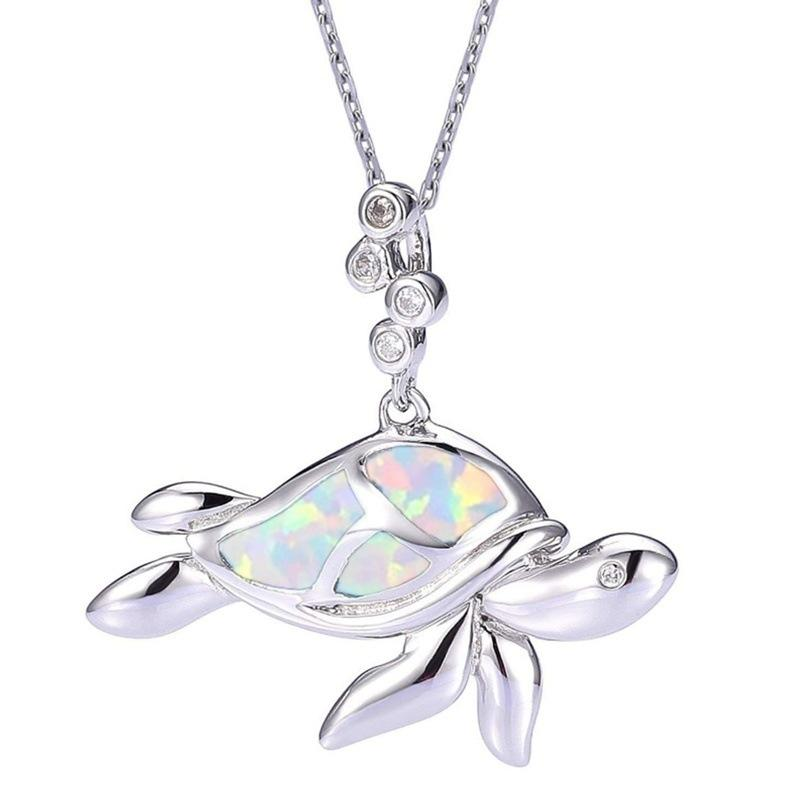 Hot Sale Cute Opal Sea Turtle Pendant Necklace Jewellery Gifts for Women Birthday