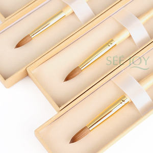 New Nail Product 2020 SeeJoy Golden Handle Acrylic Brush Kolinsky Nail Brush Acrylic Kolinsky Acrylic Brushes 8 10 12 14 16