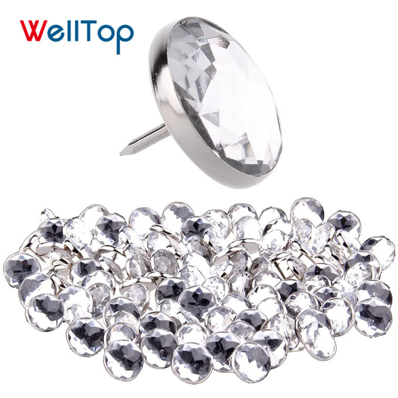 HOT SALE VT-14.109 Decorative Diamonds Home Crystal Button Sticker Sofa Upholstery Nails For Beds
